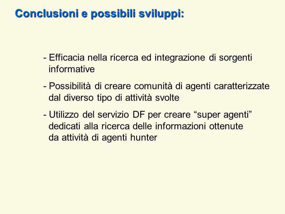 Conclusioni e possibili sviluppi: - Efficacia nella ricerca ed integrazione di sorgenti informative - Possibilità di creare comunità di agenti caratte