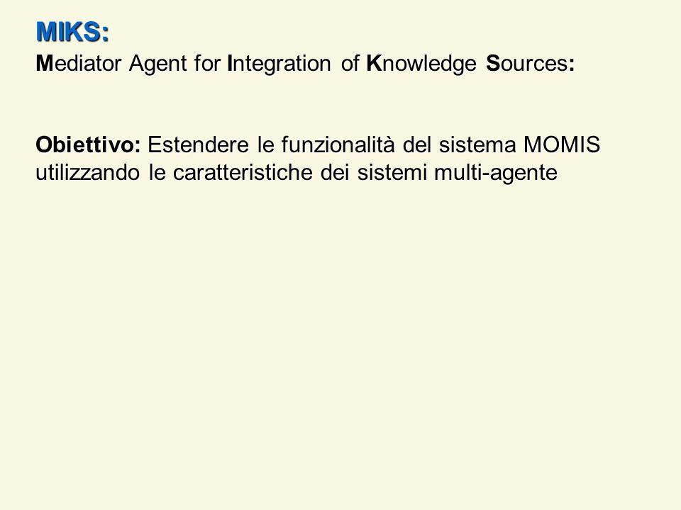 MIKS: Mediator Agent for Integration of Knowledge Sources: Obiettivo: Estendere le funzionalità del sistema MOMIS utilizzando le caratteristiche dei s