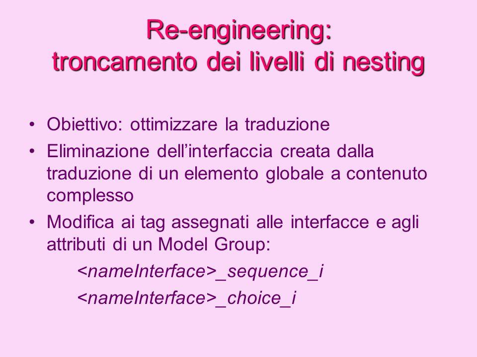 Re-engineering: gestione del Model Group choice Mancata corrispondenza tra le regole ideate e la traduzione effettuata