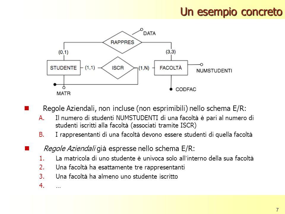 7 Regole Aziendali, non incluse (non esprimibili) nello schema E/R: A.Il numero di studenti NUMSTUDENTI di una facolt à è pari al numero di studenti i