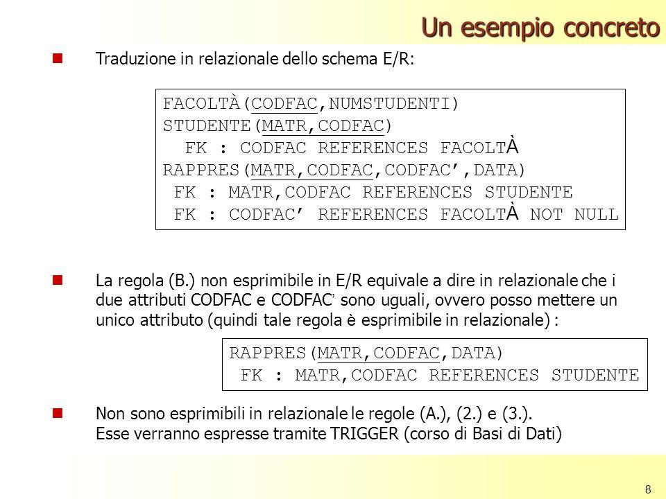 8 Non sono esprimibili in relazionale le regole (A.), (2.) e (3.). Esse verranno espresse tramite TRIGGER (corso di Basi di Dati) Un esempio concreto