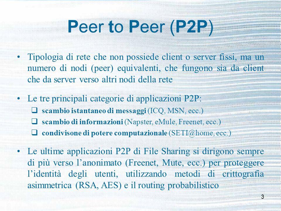 3 Peer to Peer (P2P) Tipologia di rete che non possiede client o server fissi, ma un numero di nodi (peer) equivalenti, che fungono sia da client che da server verso altri nodi della rete Le tre principali categorie di applicazioni P2P: scambio istantaneo di messaggi (ICQ, MSN, ecc.) scambio di informazioni (Napster, eMule, Freenet, ecc.) condivisone di potere computazionale (SETI@home, ecc.) Le ultime applicazioni P2P di File Sharing si dirigono sempre di più verso lanonimato (Freenet, Mute, ecc.) per proteggere lidentità degli utenti, utilizzando metodi di crittografia asimmetrica (RSA, AES) e il routing probabilistico