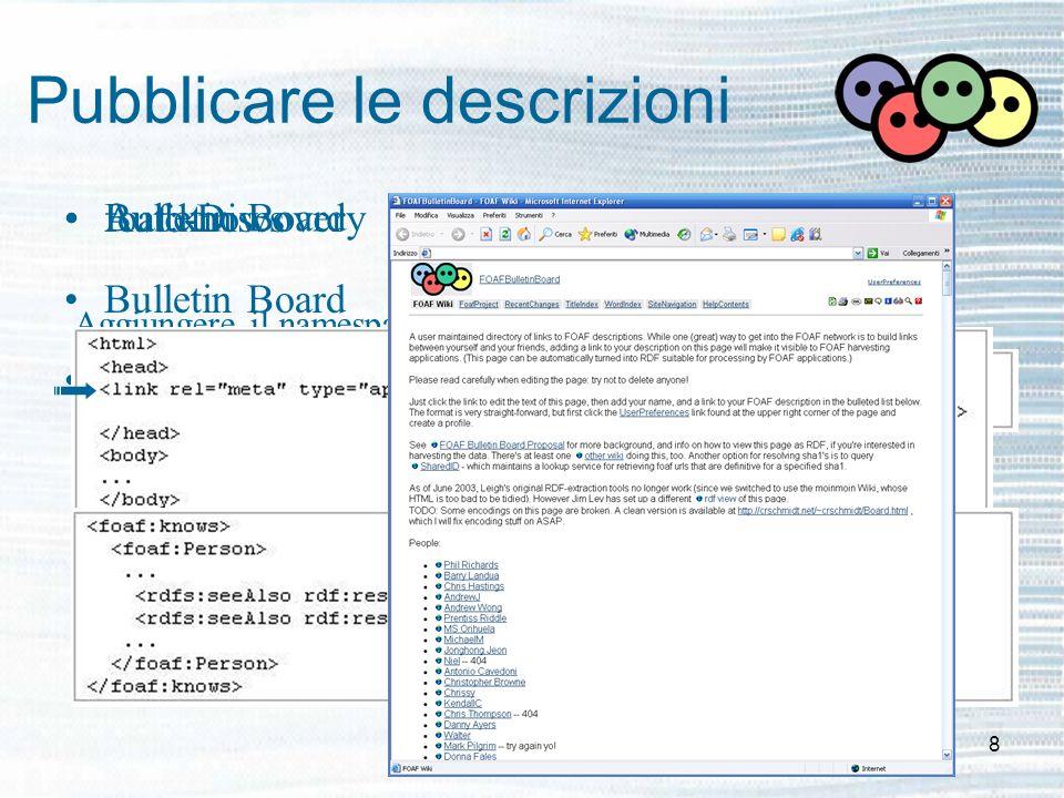 8 Pubblicare le descrizioni foaf:knows Bulletin Board Auto-Discovery Aggiungere il namespace RDF-Schema Aggiungere i link ad altre descrizioni FOAF Bu