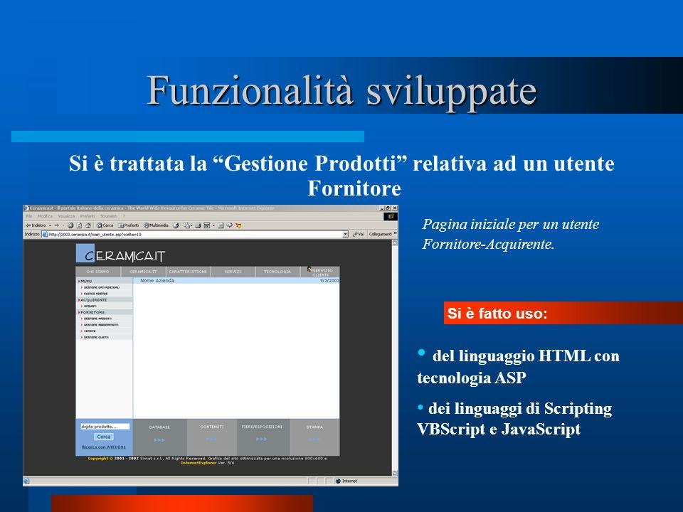 Funzionalità sviluppate Si è trattata la Gestione Prodotti relativa ad un utente Fornitore Pagina iniziale per un utente Fornitore-Acquirente. Si è fa