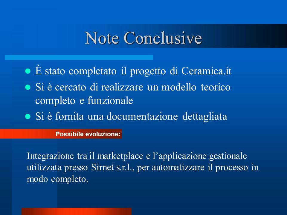 Note Conclusive È stato completato il progetto di Ceramica.it Si è cercato di realizzare un modello teorico completo e funzionale Si è fornita una doc