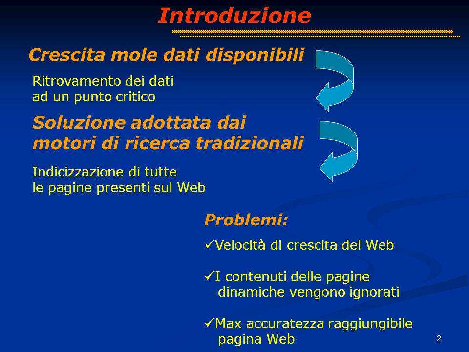 3 Introduzione Human Readable HTML Machine Readable XML wrapper Wrapper XML HTML Generatore di wrapper XML Soluzione adottata: MOMIS (Mediator EnvirOnment for Multiple Information Sources) www.dbgroup.unimo.it/Momis