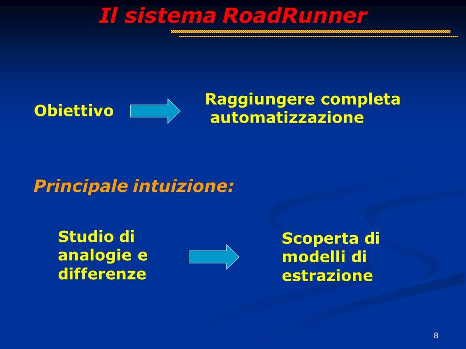 8 Il sistema RoadRunner Obiettivo Raggiungere completa automatizzazione Principale intuizione: Studio di analogie e differenze Scoperta di modelli di estrazione