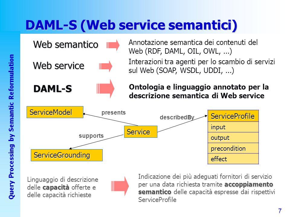 7 Query Processing by Semantic Reformulation DAML-S (Web service semantici) Web semantico Annotazione semantica dei contenuti del Web (RDF, DAML, OIL, OWL,...) Web service Interazioni tra agenti per lo scambio di servizi sul Web (SOAP, WSDL, UDDI,...) DAML-S Ontologia e linguaggio annotato per la descrizione semantica di Web service ServiceGrounding supports Service describedBy presentsServiceModel accoppiamento semantico Indicazione dei più adeguati fornitori di servizio per una data richiesta tramite accoppiamento semantico delle capacità espresse dai rispettivi ServiceProfile capacità Linguaggio di descrizione delle capacità offerte e delle capacità richieste ServiceProfile input output precondition effect