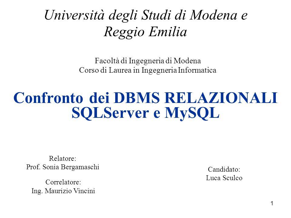 1 Facoltà di Ingegneria di Modena Corso di Laurea in Ingegneria Informatica Università degli Studi di Modena e Reggio Emilia Confronto dei DBMS RELAZIONALI SQLServer e MySQL Relatore: Prof.