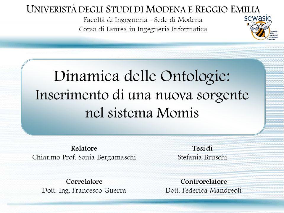 Stefania Bruschi – 7 Aprile 2005 Ontologia iniziale sorgente locale passata come sorgente locale Tool di integrazione: Classe Comparatore