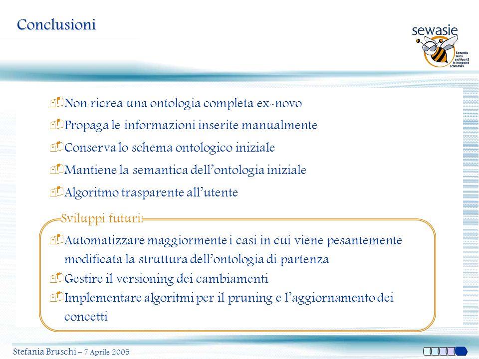 Stefania Bruschi – 7 Aprile 2005 Conclusioni  Non ricrea una ontologia completa ex-novo  Propaga le informazioni inserite manualmente  Conserva lo
