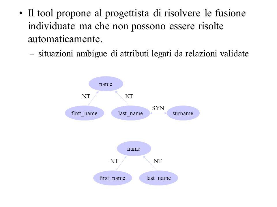 Il tool propone al progettista di risolvere le fusione individuate ma che non possono essere risolte automaticamente. –situazioni ambigue di attributi