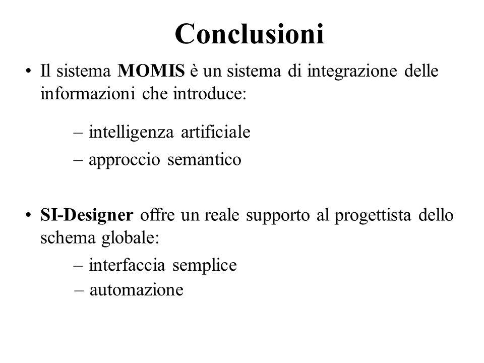 Conclusioni Il sistema MOMIS è un sistema di integrazione delle informazioni che introduce: –approccio semantico –intelligenza artificiale SI-Designer