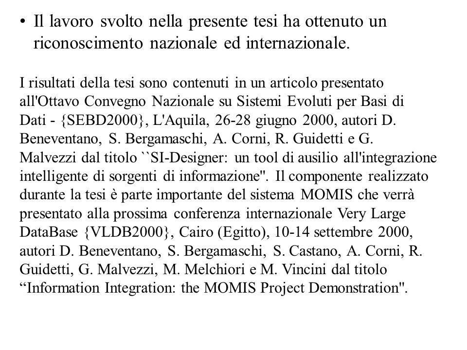 Il lavoro svolto nella presente tesi ha ottenuto un riconoscimento nazionale ed internazionale. I risultati della tesi sono contenuti in un articolo p