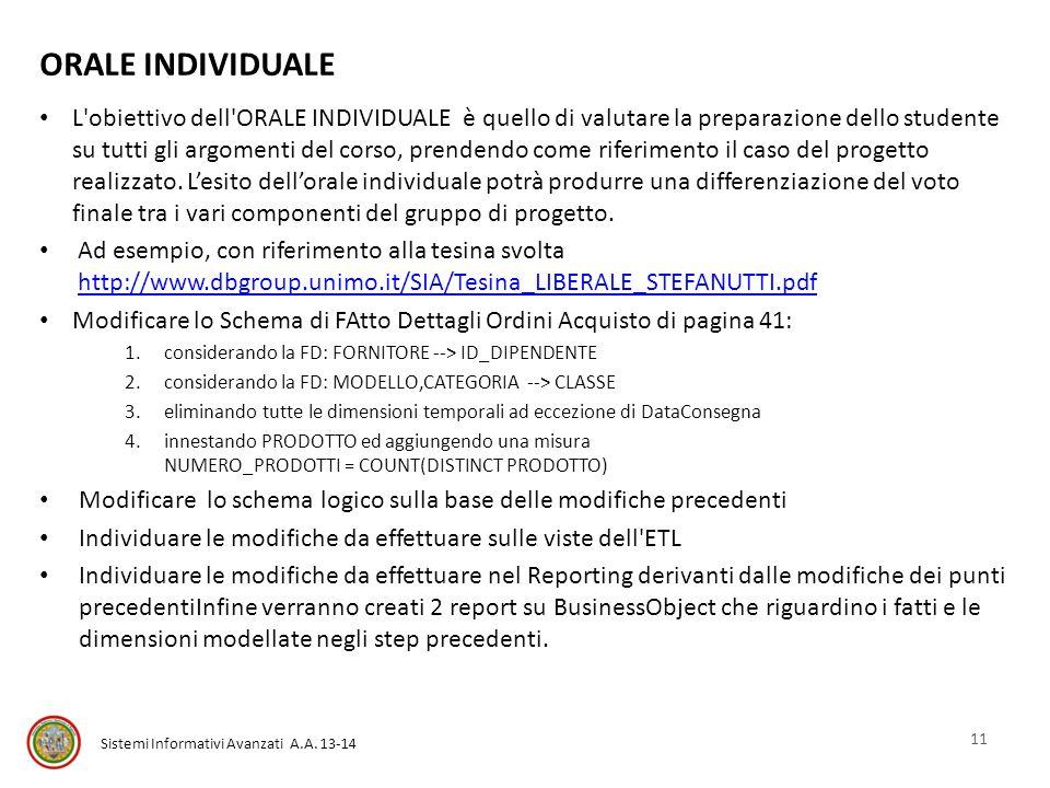 Sistemi Informativi Avanzati A.A. 13-14 ORALE INDIVIDUALE L'obiettivo dell'ORALE INDIVIDUALE è quello di valutare la preparazione dello studente su tu