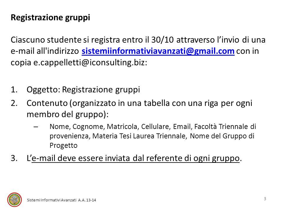 Sistemi Informativi Avanzati A.A. 13-14 Registrazione gruppi Ciascuno studente si registra entro il 30/10 attraverso linvio di una e-mail all'indirizz