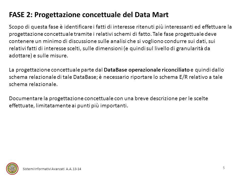 Sistemi Informativi Avanzati A.A. 13-14 FASE 2: Progettazione concettuale del Data Mart Scopo di questa fase è identificare i fatti di interesse riten