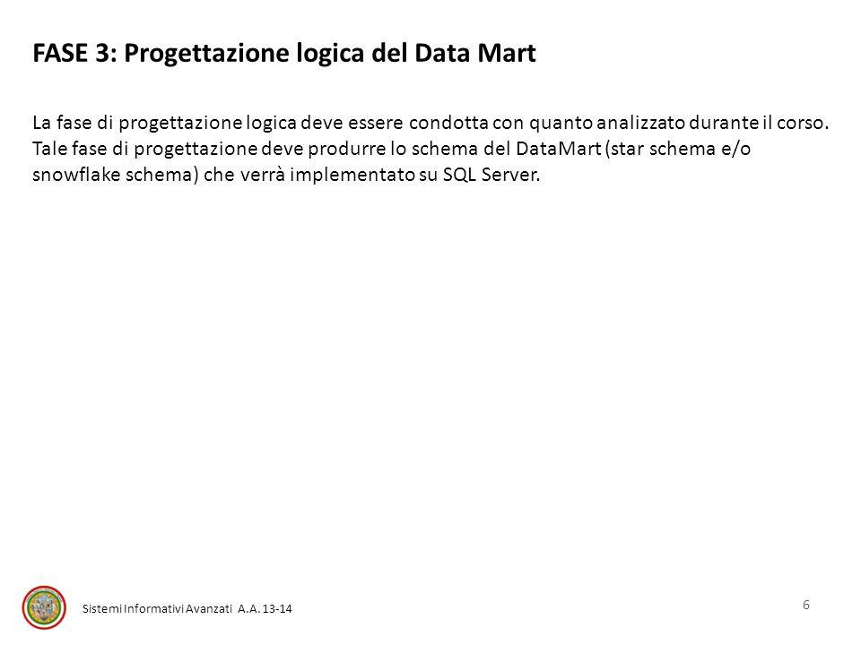 Sistemi Informativi Avanzati A.A. 13-14 FASE 3: Progettazione logica del Data Mart La fase di progettazione logica deve essere condotta con quanto ana