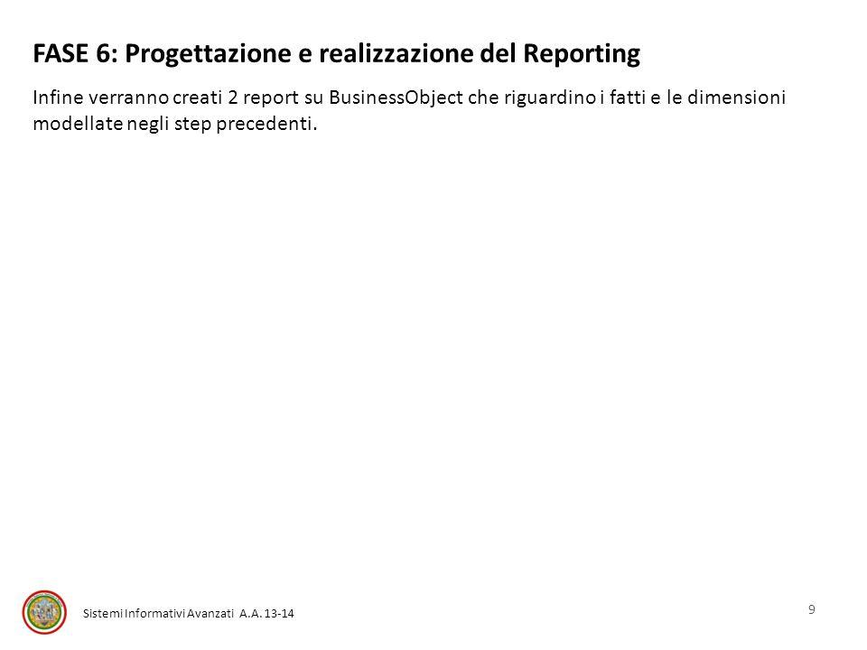 Sistemi Informativi Avanzati A.A. 13-14 FASE 6: Progettazione e realizzazione del Reporting Infine verranno creati 2 report su BusinessObject che rigu