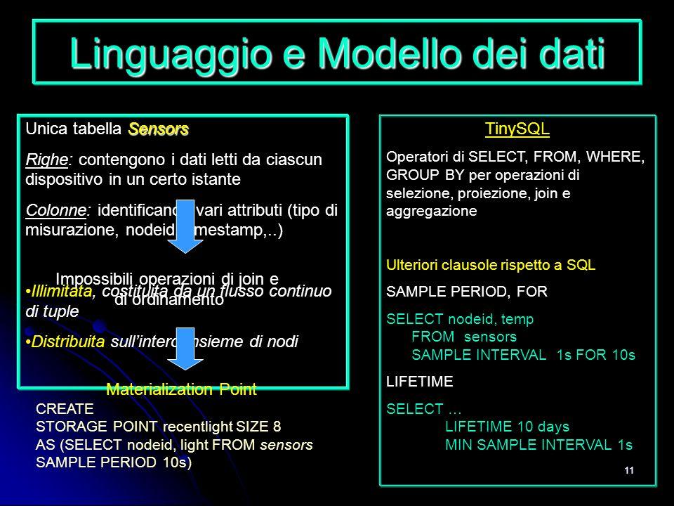 11 Linguaggio e Modello dei dati Sensors Unica tabella Sensors Righe: contengono i dati letti da ciascun dispositivo in un certo istante Colonne: iden