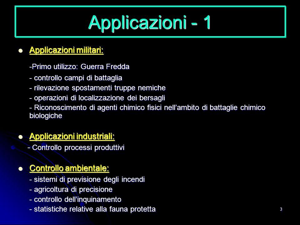 3 Applicazioni - 1 Applicazioni militari: Applicazioni militari: -Primo utilizzo: Guerra Fredda - controllo campi di battaglia - rilevazione spostamen