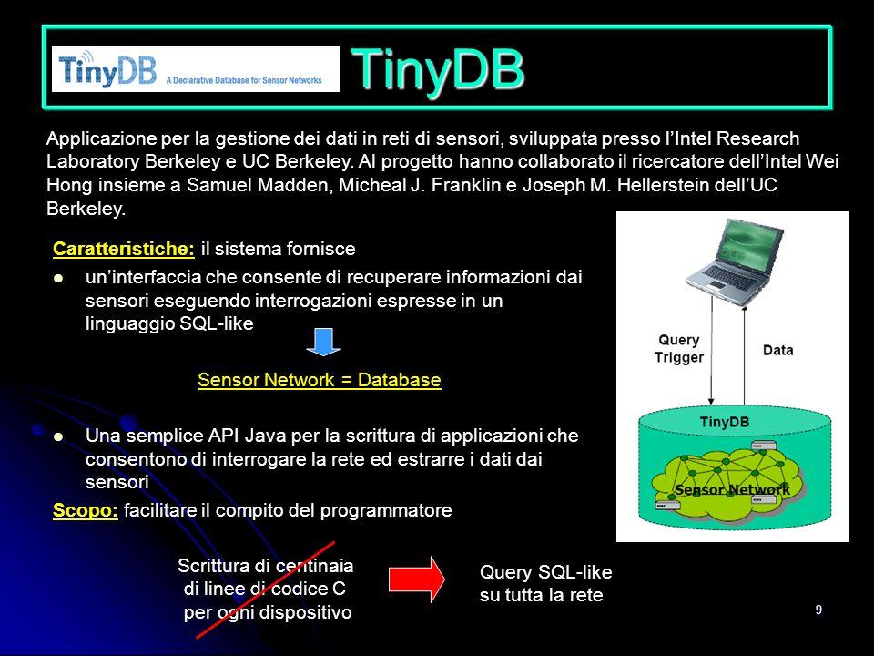 9 TinyDB Caratteristiche: il sistema fornisce uninterfaccia che consente di recuperare informazioni dai sensori eseguendo interrogazioni espresse in u