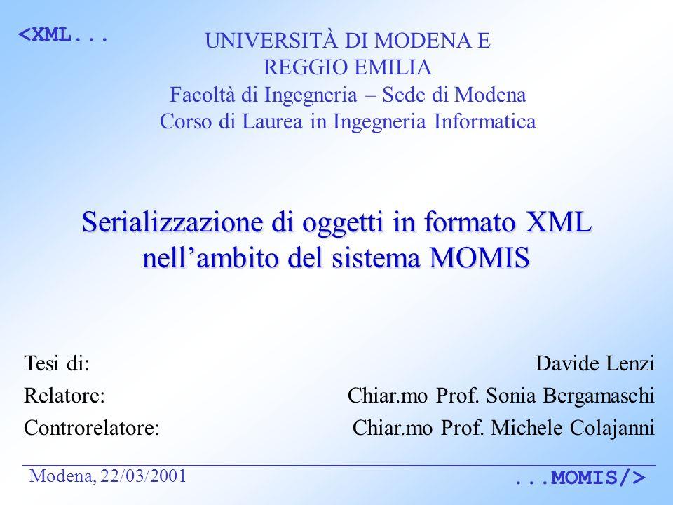 <XML......MOMIS/> Serializzazione di oggetti in formato XML nellambito del sistema MOMIS Davide Lenzi Chiar.mo Prof.