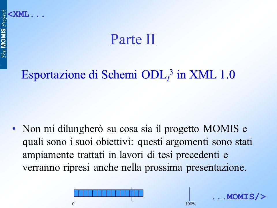 <XML......MOMIS/> Esportazione di Schemi ODL I 3 in XML 1.0 Non mi dilungherò su cosa sia il progetto MOMIS e quali sono i suoi obiettivi: questi argomenti sono stati ampiamente trattati in lavori di tesi precedenti e verranno ripresi anche nella prossima presentazione.