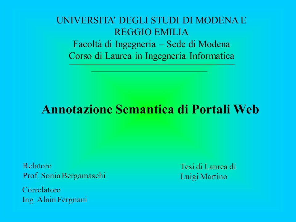Annotazione Semantica di Portali Web Relatore Prof.