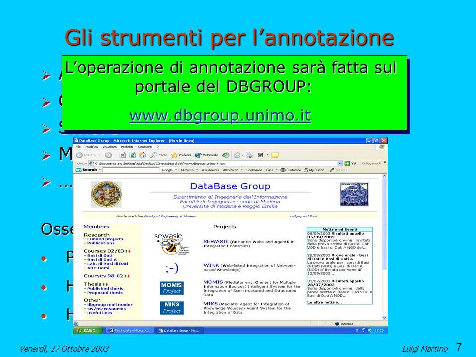 7 Venerdì, 17 Ottobre 2003Luigi Martino Gli strumenti per lannotazione Annotea Annotea OntoMat OntoMat Smore Smore MnM MnM …..