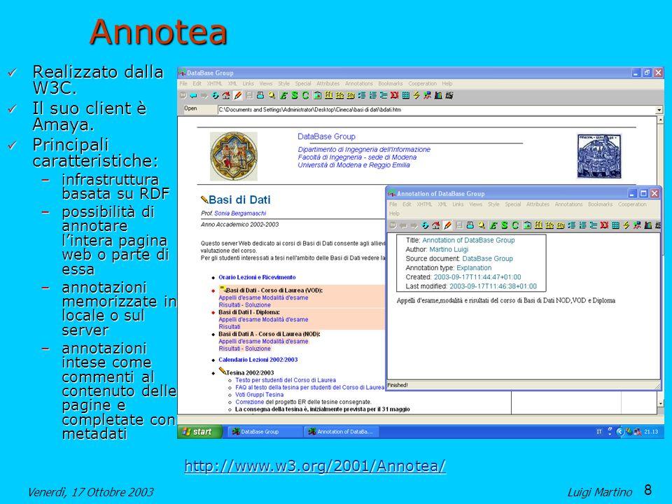 8 Venerdì, 17 Ottobre 2003Luigi MartinoAnnotea Realizzato dalla W3C.