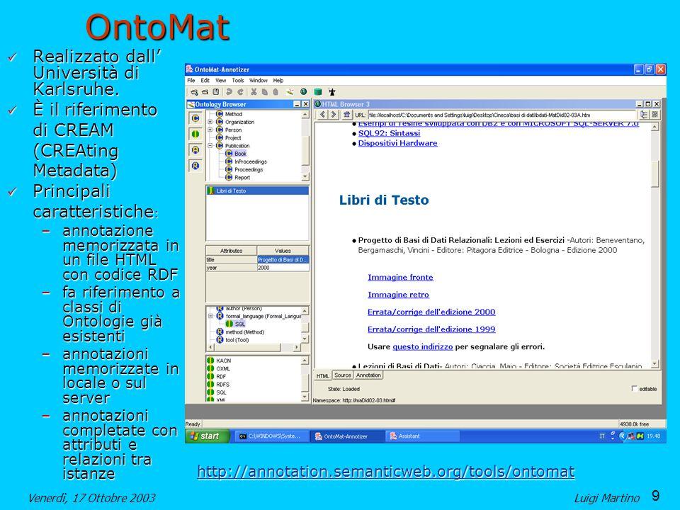 9 Venerdì, 17 Ottobre 2003Luigi MartinoOntoMat Realizzato dall Università di Karlsruhe.
