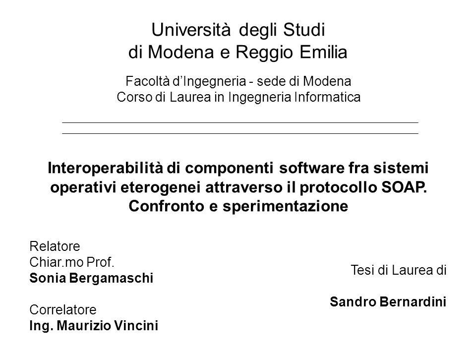 Università degli Studi di Modena e Reggio Emilia Facoltà dIngegneria - sede di Modena Corso di Laurea in Ingegneria Informatica Interoperabilità di componenti software fra sistemi operativi eterogenei attraverso il protocollo SOAP.