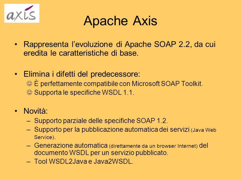 Apache Axis Rappresenta levoluzione di Apache SOAP 2.2, da cui eredita le caratteristiche di base. Elimina i difetti del predecessore: È perfettamente