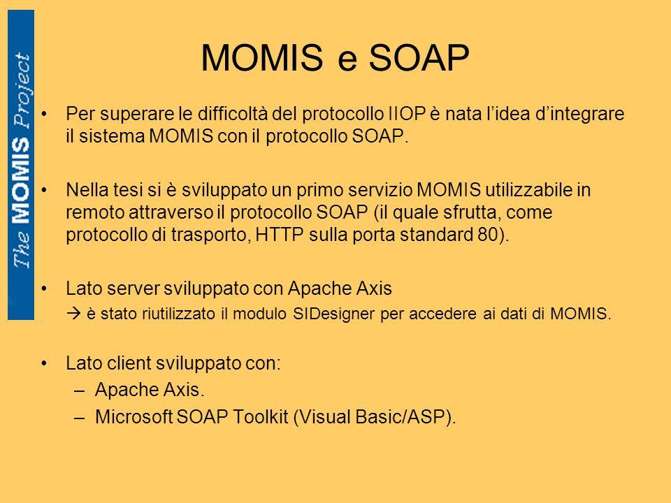 MOMIS e SOAP Per superare le difficoltà del protocollo IIOP è nata lidea dintegrare il sistema MOMIS con il protocollo SOAP. Nella tesi si è sviluppat