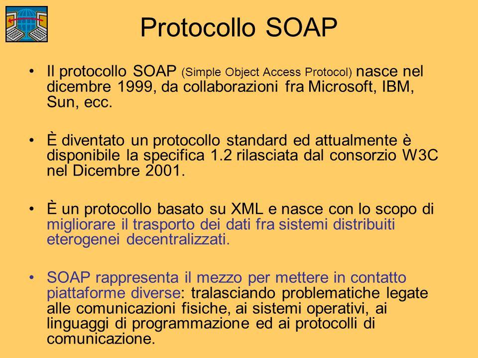 Protocollo SOAP Il protocollo SOAP (Simple Object Access Protocol) nasce nel dicembre 1999, da collaborazioni fra Microsoft, IBM, Sun, ecc. È diventat