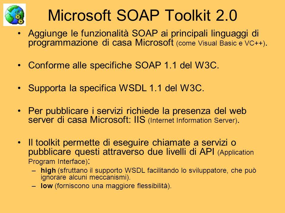 Microsoft SOAP Toolkit 2.0 Aggiunge le funzionalità SOAP ai principali linguaggi di programmazione di casa Microsoft (come Visual Basic e VC++). Confo