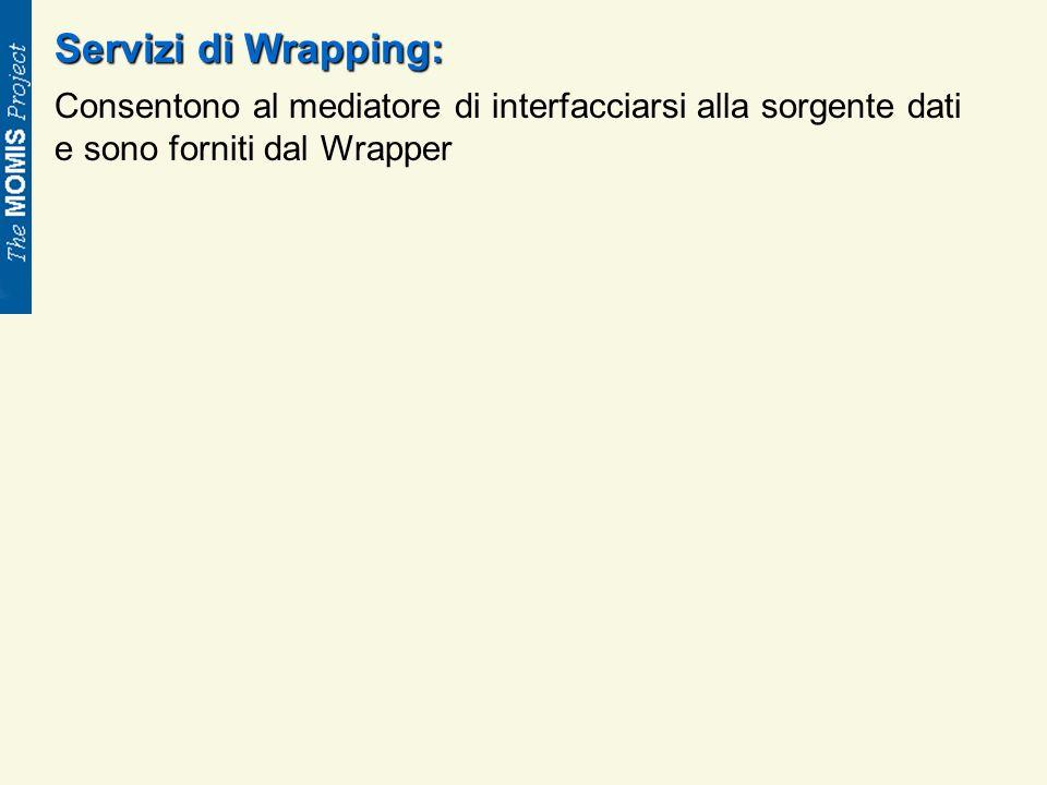 Servizi di Wrapping: Consentono al mediatore di interfacciarsi alla sorgente dati e sono forniti dal Wrapper