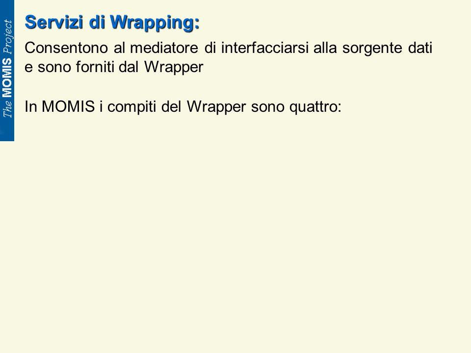Servizi di Wrapping: Consentono al mediatore di interfacciarsi alla sorgente dati e sono forniti dal Wrapper In MOMIS i compiti del Wrapper sono quattro: