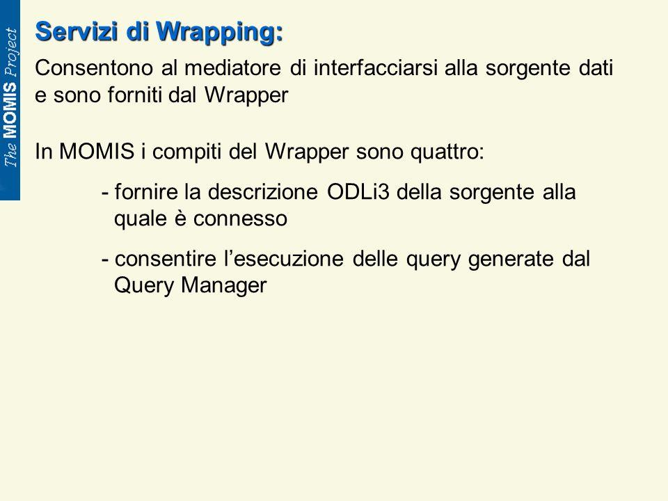 Servizi di Wrapping: Consentono al mediatore di interfacciarsi alla sorgente dati e sono forniti dal Wrapper In MOMIS i compiti del Wrapper sono quattro: - fornire la descrizione ODLi3 della sorgente alla quale è connesso - consentire lesecuzione delle query generate dal Query Manager