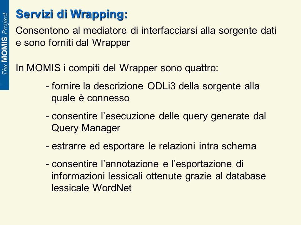 Servizi di Wrapping: Consentono al mediatore di interfacciarsi alla sorgente dati e sono forniti dal Wrapper In MOMIS i compiti del Wrapper sono quattro: - fornire la descrizione ODLi3 della sorgente alla quale è connesso - consentire lesecuzione delle query generate dal Query Manager - estrarre ed esportare le relazioni intra schema - consentire lannotazione e lesportazione di informazioni lessicali ottenute grazie al database lessicale WordNet