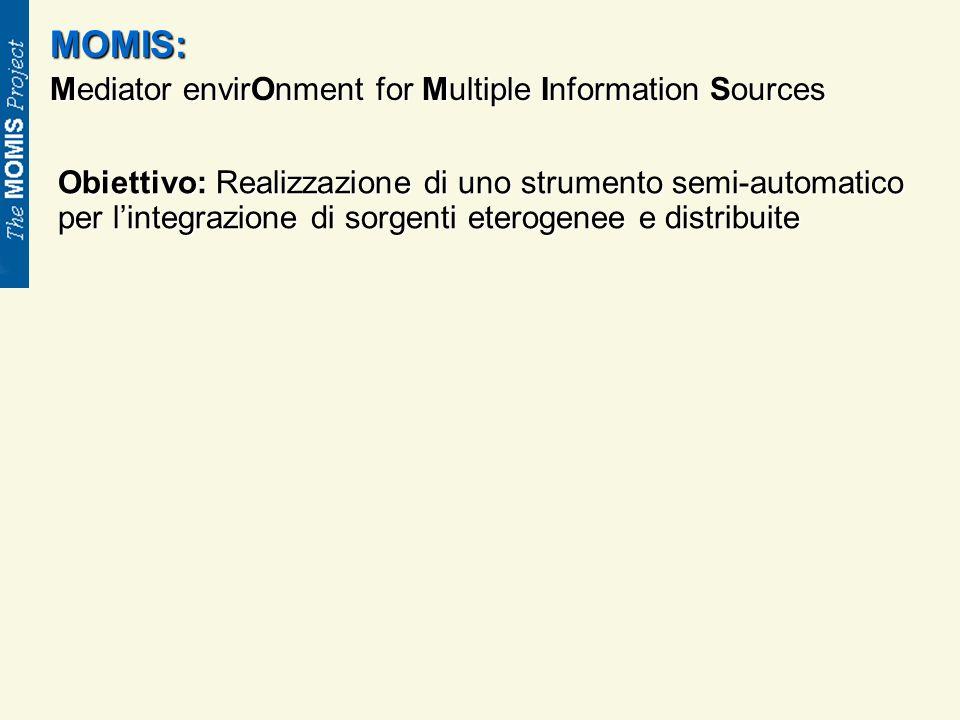 MOMIS: Mediator envirOnment for Multiple Information Sources Obiettivo: Realizzazione di uno strumento semi-automatico per lintegrazione di sorgenti eterogenee e distribuite