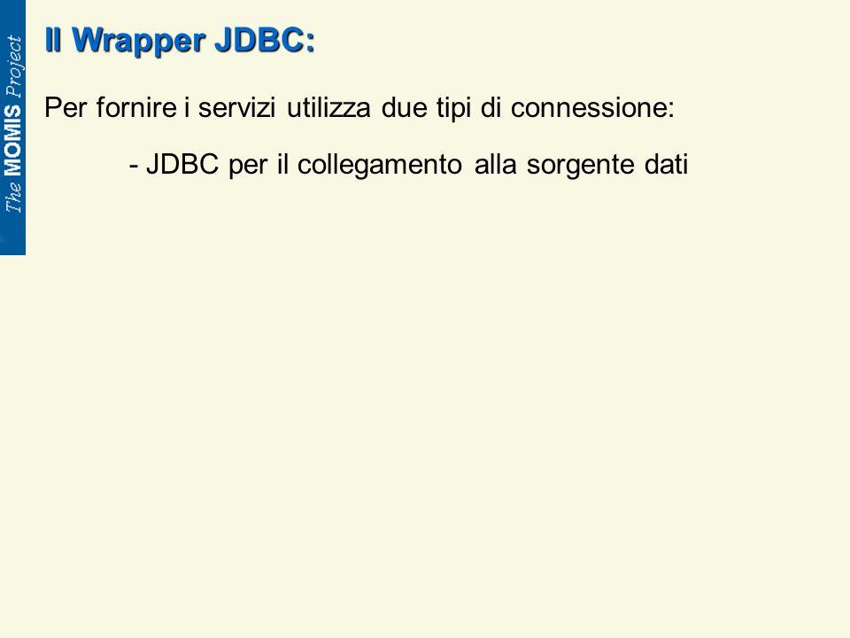 Il Wrapper JDBC: Per fornire i servizi utilizza due tipi di connessione: - JDBC per il collegamento alla sorgente dati