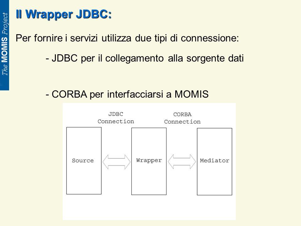 Il Wrapper JDBC: Per fornire i servizi utilizza due tipi di connessione: - JDBC per il collegamento alla sorgente dati - CORBA per interfacciarsi a MOMIS