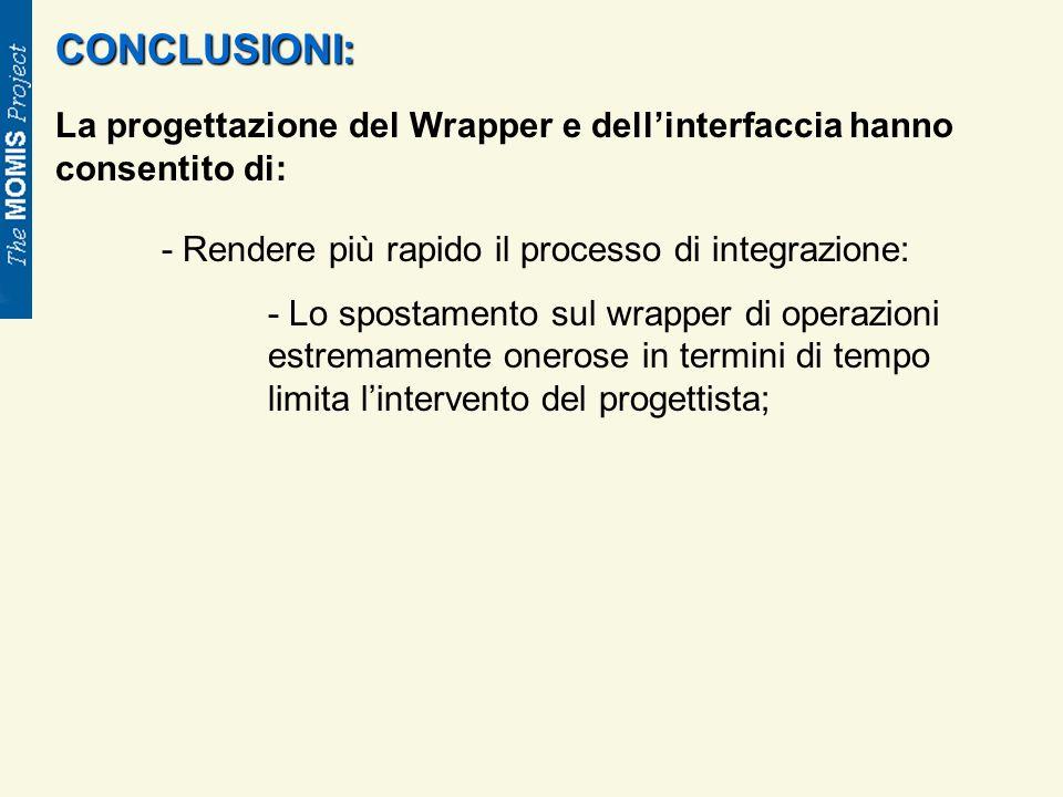 CONCLUSIONI: La progettazione del Wrapper e dellinterfaccia hanno consentito di: - Rendere più rapido il processo di integrazione: - Lo spostamento sul wrapper di operazioni estremamente onerose in termini di tempo limita lintervento del progettista;