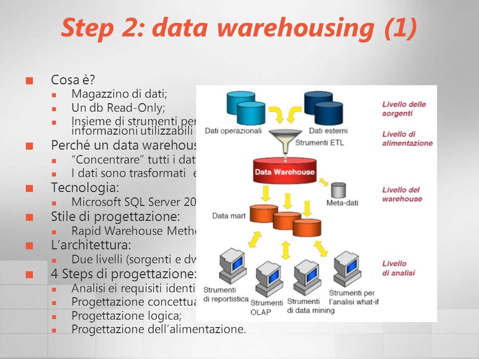 Step 2: data warehousing (1) Cosa è? Magazzino di dati; Un db Read-Only; Insieme di strumenti per convertire un vasto insieme di dati in informazioni