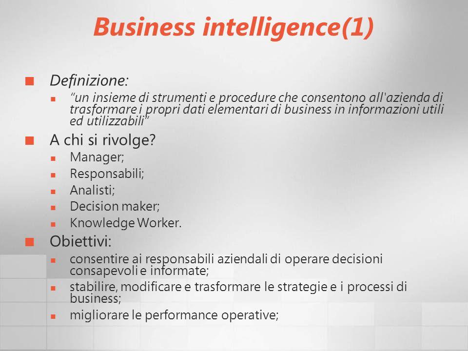 Business intelligence(1) Definizione: un insieme di strumenti e procedure che consentono all'azienda di trasformare i propri dati elementari di busine