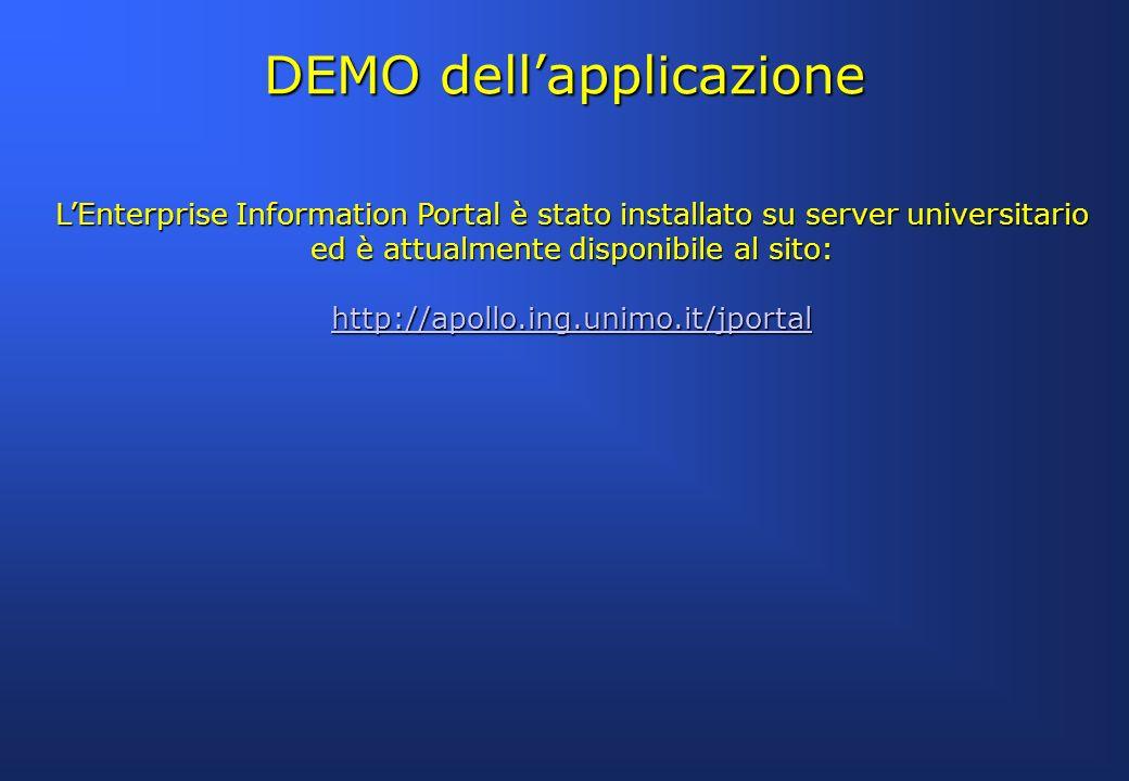 LEnterprise Information Portal è stato installato su server universitario ed è attualmente disponibile al sito: http://apollo.ing.unimo.it/jportal DEM