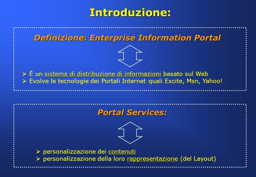 Introduzione: Definizione: Enterprise Information Portal sistema di distribuzione di informazioni È un sistema di distribuzione di informazioni basato