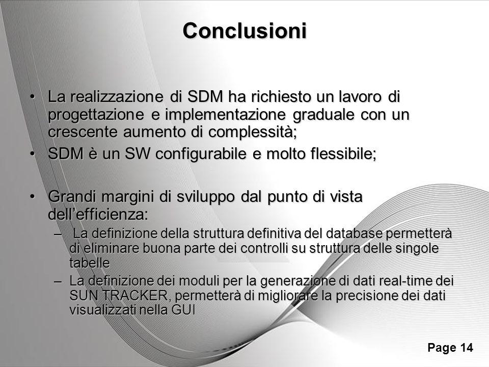 Powerpoint Templates Page 14 Conclusioni La realizzazione di SDM ha richiesto un lavoro di progettazione e implementazione graduale con un crescente a